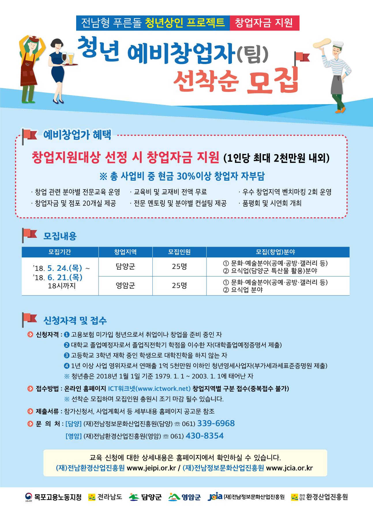 「전남형푸른돌청년상인프로젝트」청년예비창업가교육생모집621